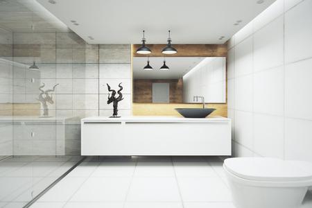 壁に同胞とモダンなバスルームのインテリア。3 D レンダリング 写真素材