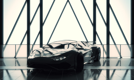 Transport concept. Modern stylish black sports car in loft warehouse garage interior with tile floor, window frame and sunlight. 3D Rendering