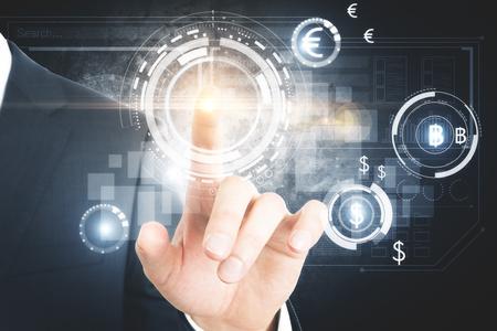 Hand die op abstracte digitale bedrijfsinterface richt. Innovatie concept. 3D-weergave Stockfoto