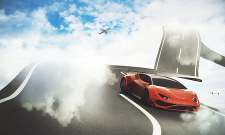 Abstract sky road with luxury sports car and airplane. Transportation, traveling and imagination concept. 3D Rendering