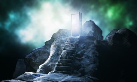 Bergstappen die tot abstracte open deur met mening over hemelachtergrond leiden. Verbeeldingsconcept. 3D-weergave Stockfoto