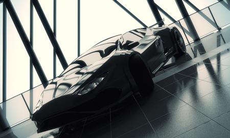Transportation concept. Modern stylish black sports car in loft warehouse garage interior with tile floor, window frame and sunlight. 3D Rendering Reklamní fotografie