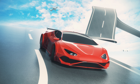 Abstract sky road with luxury sports car and airplane. Transportation, comfort and imagination concept. 3D Rendering