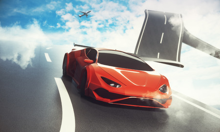 Abstract sky road with luxury sports car and airplane. Transportation, travel and imagination concept. 3D Rendering