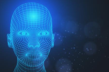 흐린 배경에 추상 메쉬 머리의 전면 뷰. 로봇 개념입니다. 3D 렌더링