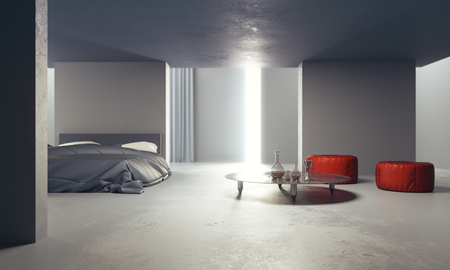 Minimalistic concrete grunge bedroom with furniture and decorative items. 3D Rendering Stok Fotoğraf