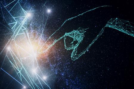 공간 하늘 배경에 추상 메쉬를 가르키는 다각형 손. 기술 개념입니다. 3D 렌더링 스톡 콘텐츠
