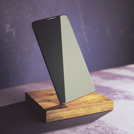 Empty cellphone on wooden plank and concrete background. Presentation, advertisement concept. Mock up, 3D Rendering Stock Photo