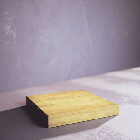Side view of empty wooden plank on concrete background. Ad concept. Mock up, 3D Rendering
