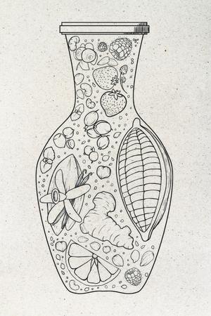 Florero abstracto de la fruta que dibuja en fondo de papel ligero. Concepto de arte Foto de archivo - 87926317