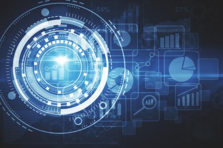 Abstracte digitale bedrijfsgrafiek backgorund. Interface concept. Dubbele blootstelling Stockfoto
