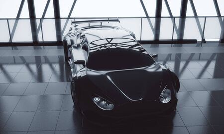 Performance concept. Modern stylish black sports car in loft warehouse garage interior with tile floor, window frame and sunlight. 3D Rendering  Reklamní fotografie