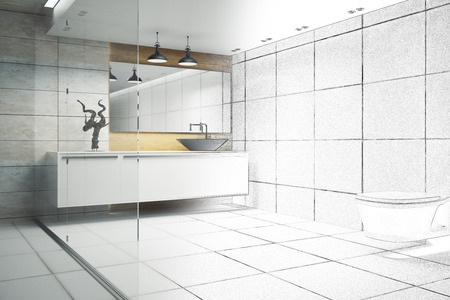 Modern bathroom interior with glass wall and appliances. 3D Rendering  Stock fotó