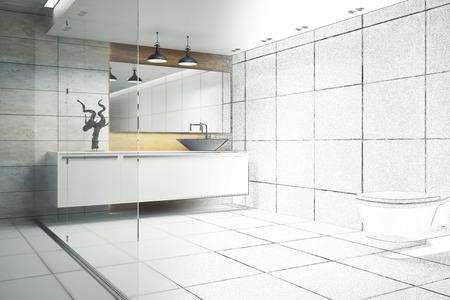 Moderner Badezimmerinnenraum mit Glaswand und Geräten. 3D-Rendering Standard-Bild - 88477580