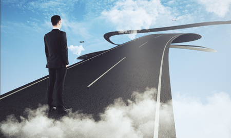 Back view of young businessman standing on abstract futuristic blue sky road with clouds and airplanes. Research concept. 3D Rendering