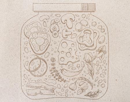 Abstracte voedselkruik die op grijze document achtergrond trekken. Collectie concept Stockfoto - 88487190