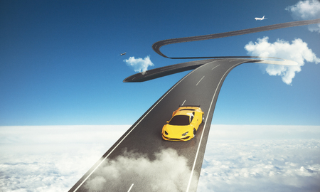 unreal: Abstract sky road with luxury sports car and airplane. Transportation, comfort and outdoor concept. 3D Rendering