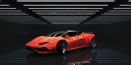 抽象的な照らされたインテリアでモダンなスポーツカー。交換の概念。3 D レンダリング
