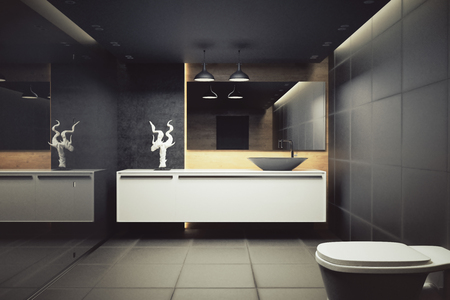 Contemporary bathroom interior with glass wall and appliances. 3D Rendering