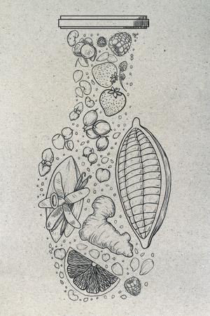 Bosquejo abstracto del florero de la fruta en fondo de papel ligero. Concepto de arte Foto de archivo - 88477694