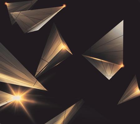 Abstract polygonal hi- tech wallpaper. 3D Rendering