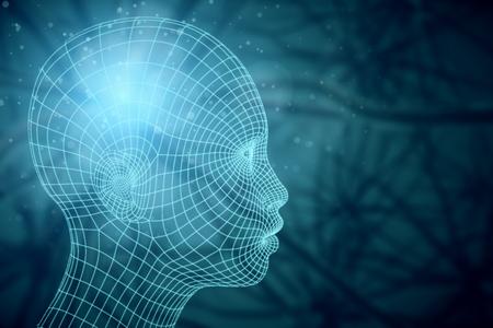 흐린 배경에 추상 메쉬 머리의 측면보기. 미래의 기술 개념입니다. 3D 렌더링 스톡 콘텐츠