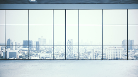 Empty office interior with city view and daylight. 3D Rendering