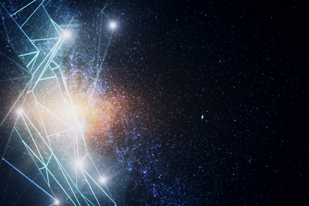 Abstract glowing polygonal network on space background. Pattern concept. 3D Rendering