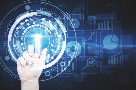 추상 디지털 비즈니스 인터페이스를 가리키는 손. 미래의 개념. 3D 렌더링