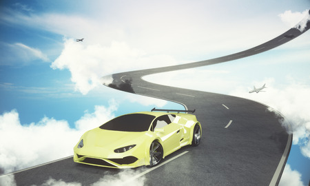 Abstract road with car and airplane on bright blue sky background. Vehicle concept