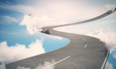 Abstract sky road with planes and sunlight. Imagination concept. 3D Rendering