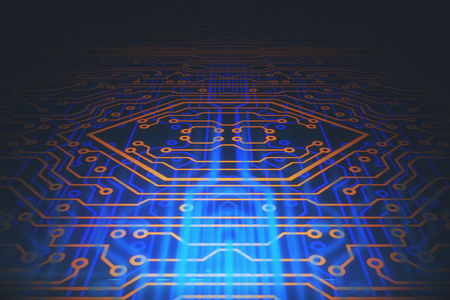 Abstract circuit board background. Motherboard concept. 3D Rendering