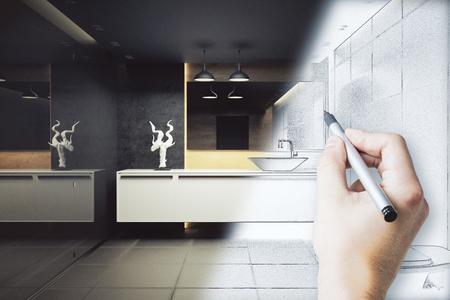 Mano che disegna l'interno bellissimo bagno. Concetto di progetto Rendering 3D Archivio Fotografico