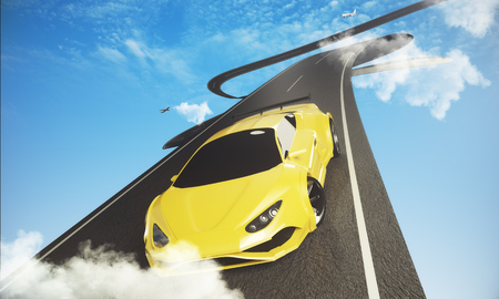 Abstract road with car and airplane on bright blue sky background. Transportation concept  Stock Photo