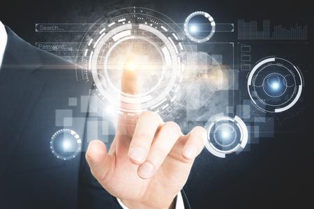Hand die op abstracte digitale bedrijfsinterface richt. Media concept. 3D-weergave Stockfoto
