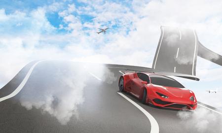 高級スポーツ車と飛行機と抽象的な空道。輸送、快適さと創造性の概念。3 D レンダリング