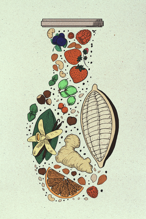 Garabato abstracto del florero de la fruta en fondo de papel ligero. Concepto de arte Foto de archivo - 88477924