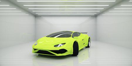 抽象的な照らされたインテリアでモダンなスポーツカー。スピード コンセプト。3 D レンダリング