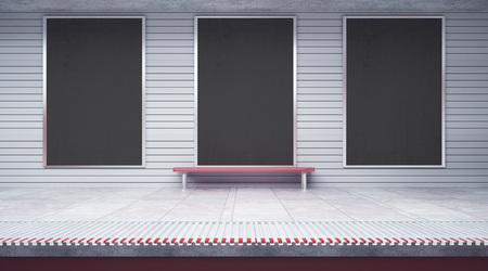 Three empty posters inside metro or subway station with bench. Mock up, 3D Rendering