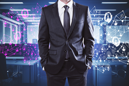 Unrecognizable businessman standing in abstract coworking office interior with night city view and polygonal network. Employer concept. 3D Rendering  Stock Photo