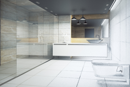 White bathroom interior with glass wall and appliances. 3D Rendering