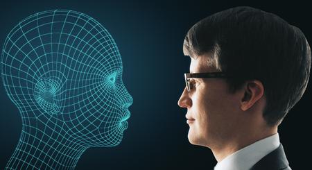 Profil de profil homme d & # 39 ; affaires et de cyber ? ur sur fond bleu. concept de fiction . rendu 3d Banque d'images - 88674521