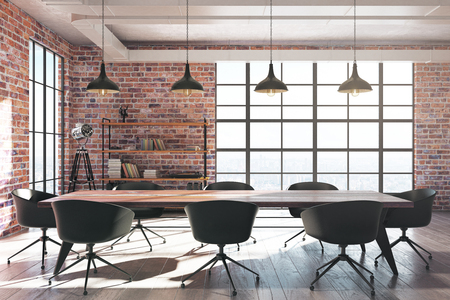 Modern red brick conference room interior with equipment and sunlight. 3D Rendering