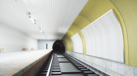 Modern yellow metro station with billboard on wall. Retail, advertising concept. Mock up, 3D Rendering  Stok Fotoğraf