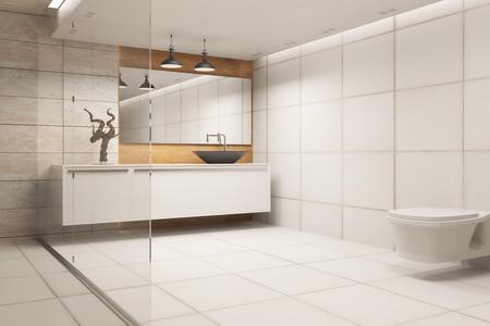 壁に refelctions が付いている新しい浴室の内部。3D レンダリング 写真素材