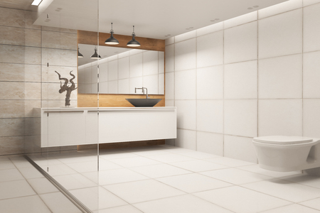 New bathroom interior with refelctions on wall. 3D Rendering
