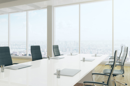 Side view of modern boardroom interior with equipment and panoramic city view. 3D Rendering  Reklamní fotografie