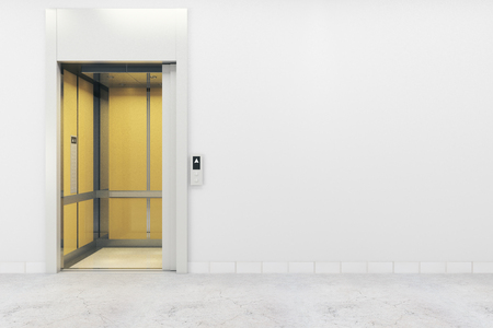 Concrete interior with elevator and copy space on empty wall. Success, startup, entrepreneurship concept. Mock up, 3D Rendering