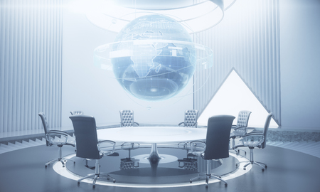 Abstract meeting room with glowing business globe hologram above conference table. Global business and communication concept. 3D Rendering