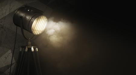 Glowing spotlight against abstract grunge wall with smoke and copy space. Equipment concept. 3D Rendeirng  Stok Fotoğraf
